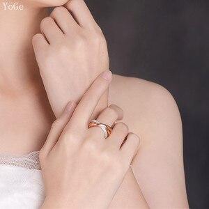 Image 4 - YoGe bijoux de mariage et fête pour femmes, anneau de luxe R3666 en triple taille AAA CZ
