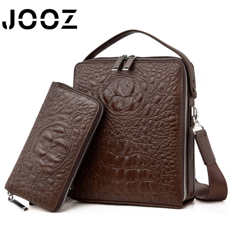 JOOZ Authentic Men Crocodile Bag 100% Genuine Leather Male Handbag Hot Selling Tote Man Shoulder Large Brand Bags Luxury Purse high quality authentic famous polo golf double clothing bag men travel golf shoes bag custom handbag large capacity45 26 34 cm