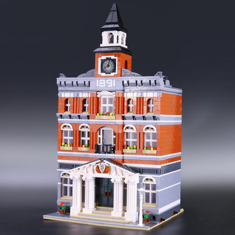 Creative Street View City Series brick New 2859Pcs Kid's Toys 15003 The town hall Model Building Kits Building Blocks Bricks a toy a dream lepin 15008 2462pcs city street creator green grocer model building kits blocks bricks compatible 10185