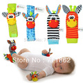Sozzy promotion  Foot Socks Toddler Infant Plush toys+wrist rattle