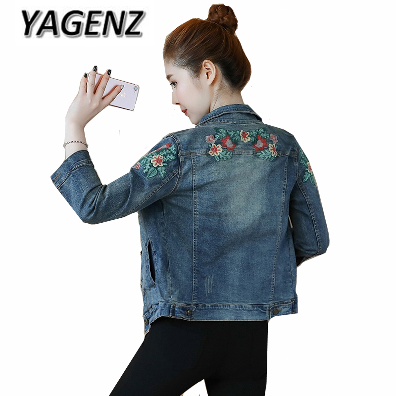 2019 Autumn Denim   Basic     Jacket   Coat Women Single-breasted Embroidery Slim Jeans Coat Vintage Female Denim Outerwear Casual Tops