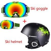 Moon Ski Helmet Double Layer Goggle Integrally Molded Ski Skiing Snowboard Skate Skateboard Veneer Helmet Anti