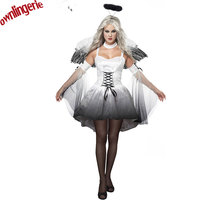 Dropshipping Worldwide Type Halloween Women Cosplay Clothing Adult Group Angel Costume WITH Wings Halo