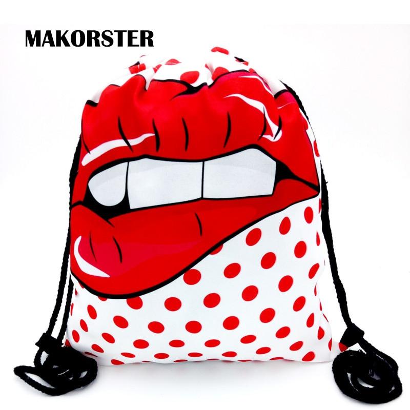 MAKORSTER Summer Lips 3d Fashion Backpack Women Beach Bag feminine Korean Backpacks Small Drawstring Bag designer