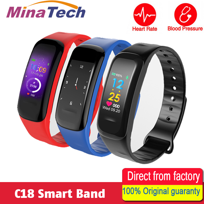 Smart Band C18 Color Screen Bracelet Blood Pressure Heart Rate Monitor Fitness Tracker Sport Smart Wristband fashion women color screen smart band wristband heart rate blood pressure monitor fitness bracelet tracker smartband pedometer