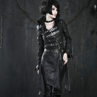 Heavy Punk Faux Leather Sexy Ladies Long Jackets Gothic Unique Fashionable Black Red Corset Coats Windbreakers with Buckles