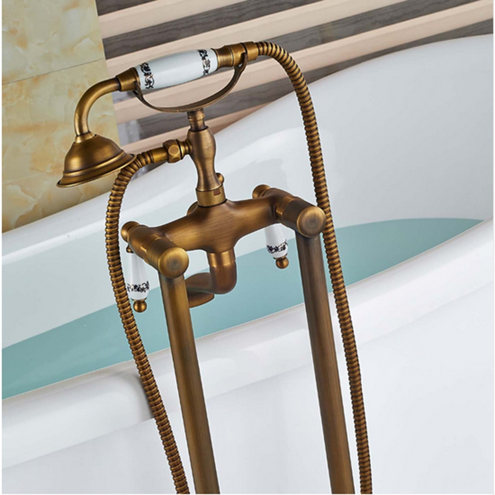 Aliexpresscom Buy Antique Brass Floor Mounted Bathroom Tub