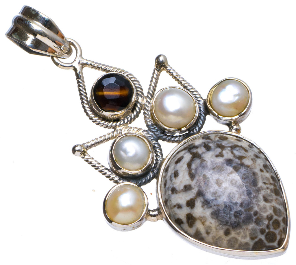 Natural Stingray Coral,River Pearl andTiger Eye Handmade Unique 925 Sterling Silver Pendant 1.75 X0851