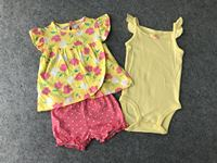 Cotton Newborn Baby Girl Clothes Stripe Dress Yellow Romper And Shorts Baby Clothing Set Baby Girls