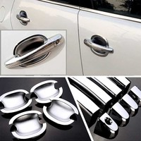 High quality For Peugeot 3008 ABS Car Styling Chrome Side Door Handle Cover and Door Bowl Cover