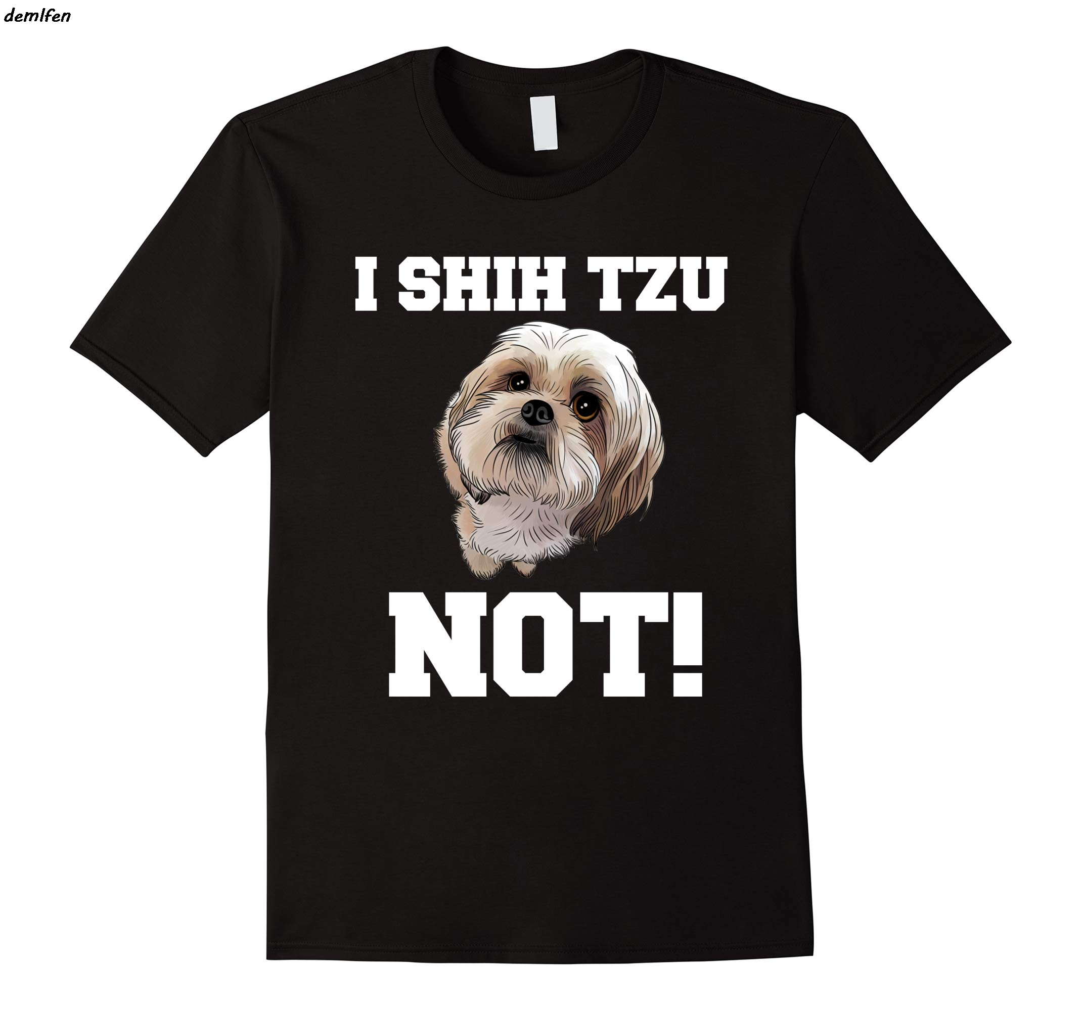 31c1cbd6 I SHIH TZU NOT Dog print t-shirt harajuku streetwear men short sleeve o-