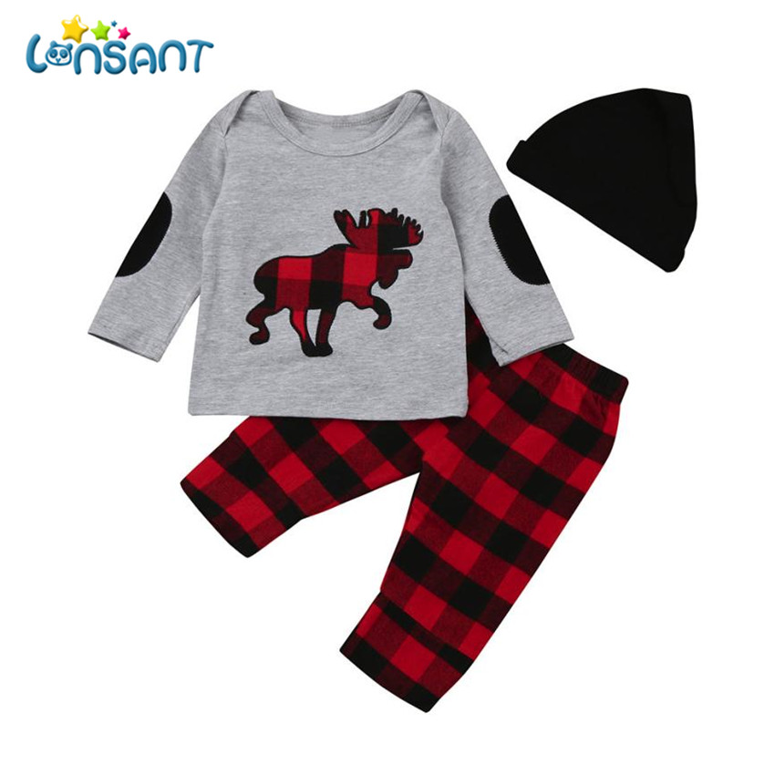 LONSANT Clothing Set Plaid Print Long Sleeve Tops Pants Hat 3 Pcs 2018 Casual Cotton Boys Girls Conjunto Menina Dropshipping ...