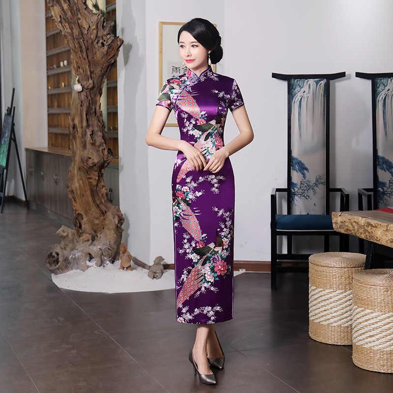 Seksi mor kadın saten günlük rahat elbise yaz yeni uzun Qipao baskı çiçek çin Cheongsam boyutu S M L XL XXL 3XL 0162