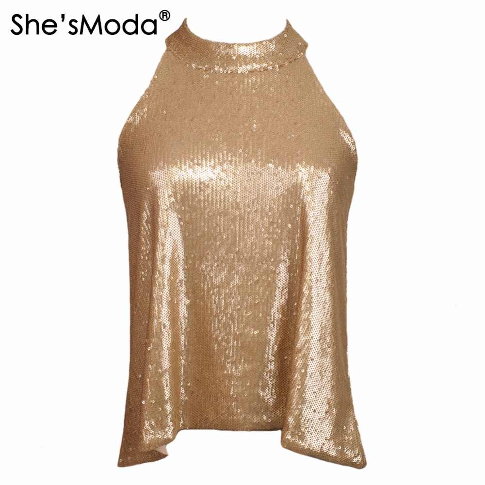 She'sModa Biling Pailletten Gold Halter Top vrouwen Spandex Club Party Tank Camis Vest