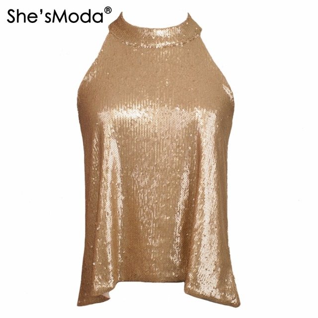 298066f47ed991 She sModa Biling Sequins Gold Halter Top Women s Spandex Club Party Tank  Camis Vest