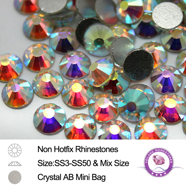 SS3-SS50 Mix Size Mini Bag Flatback 3D Shiny Stones Strass Cryatral AB Non  Hotfix Rhinestones for Nails DIY Art Decoration 7d9ef22c6132