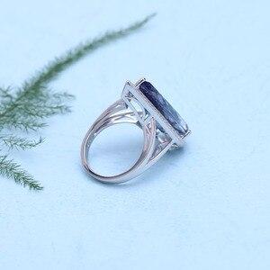 Image 3 - GEMS bale yeni 11.48Ct doğal Iolite mavi mistik kuvars büyük su damlası parmak yüzük 925 ayar gümüş yüzük kadınlar için düğün