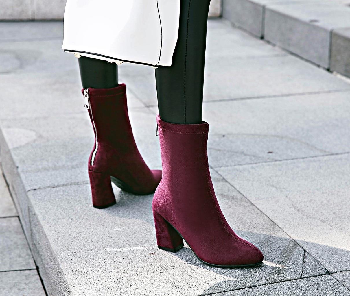 Pie Tacones Punta Invierno Mujeres Otoño Cuadrados Zapatos 2019 Del Tamaño  marrón Esrfiyfe De 43 Negro azul Botines Soild 34 rojo Dedo Nuevo Las  Cremallera ... 3ef347836f86