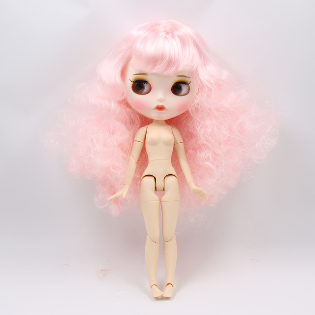 ICY factory blyth doll white skin joint body New matte face cute pink curly hair DIY sd gift toy