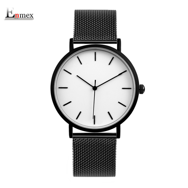 Enmex cool style men wristwatch Brief vogue simple stylish stainless steel band simple brief face quartz clock fashion watch gift enmex creative style lady wristwatch silver 3d vortex face creative design silicone band luminous brief casual quartz watch