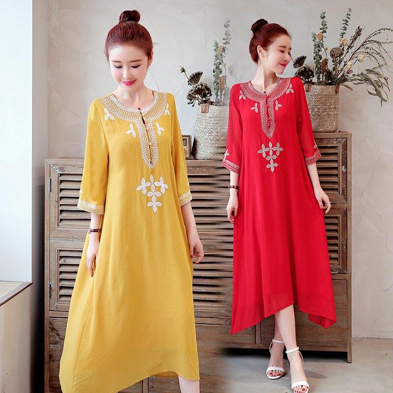 2019 femmes robe livraison gratuite robes à grande échelle tempérament littérature et Art plaque-bouton lin Style National mode Long