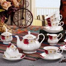 Britischen Royal Porzellan Europa Hochwertigen Bone China Kaffeetasse 3D Farbe Emaille Porzellan Untertasse Kaffee Tee-Sets Für freund Geschenk