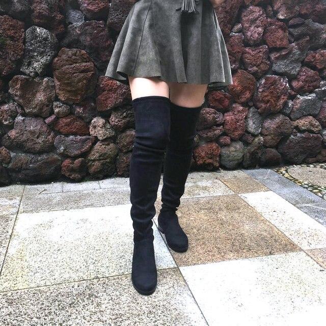 Co giãn Giả Da Lộn Đùi Cao Cấp Giày Phụ Nữ Trên Đầu Gối Giày Đế bằng Gợi Cảm Thời Trang Thu Đông Size Lớn Giày 2019 Xám Đen