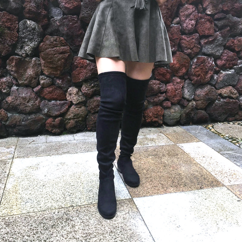 Stretch Faux Suede Thigh High Boots Women Over the Knee Boots Flat Heel Sexy Fashion Fall Winter Big Size Shoes 2019 Black Gray