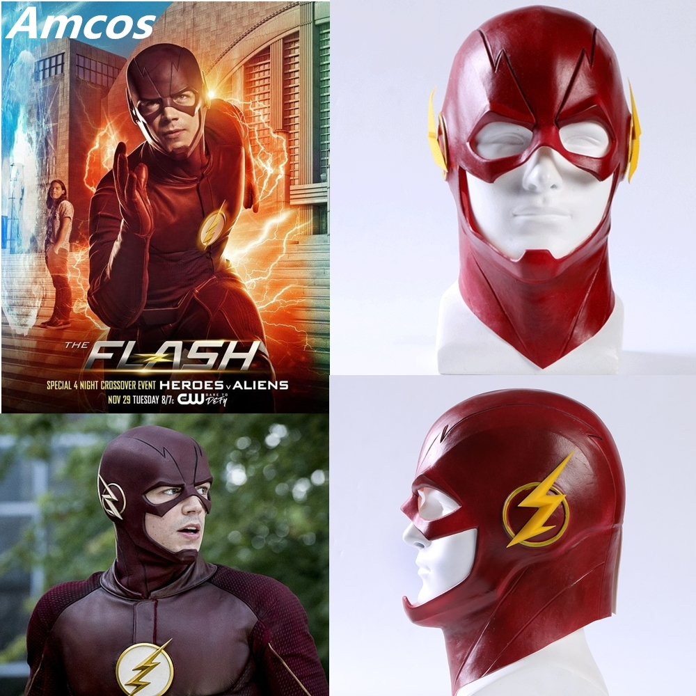 TV-serien The Flash Mask Cosplay Kostym Prop Halloween Full Head Latex Party Masker Mascarade Vuxen Barry Allen Cos
