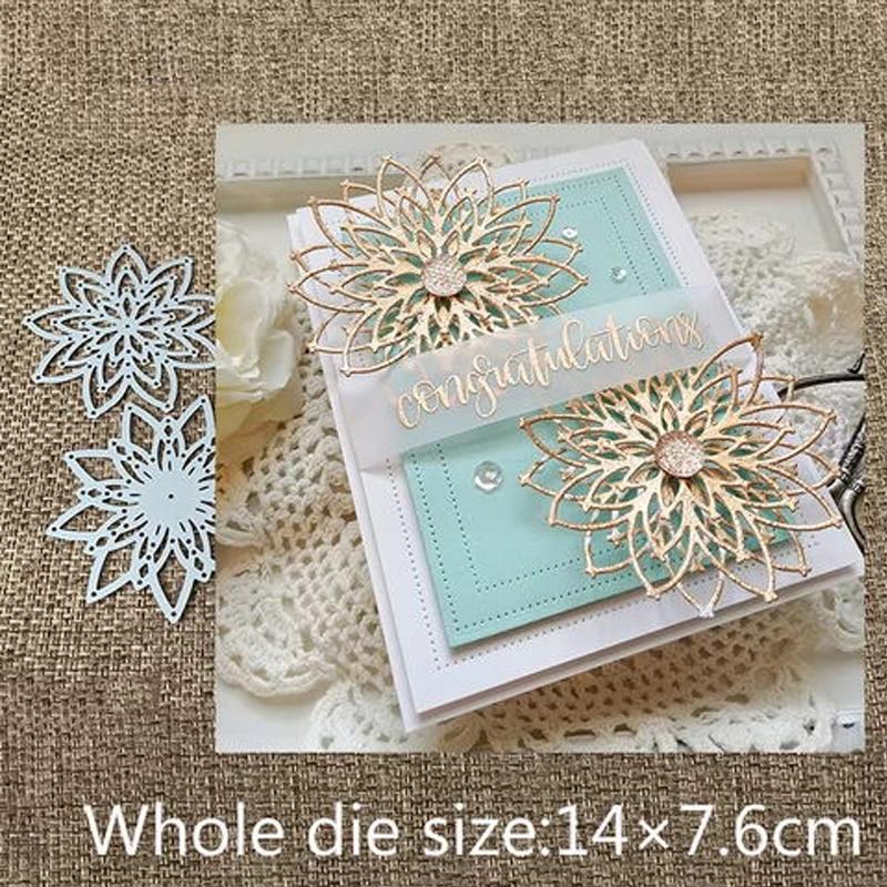 Unique Flower Pattern Star Cutting Die For DIY Scrapbooking Album Paper Card  SQ