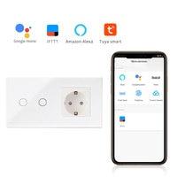 Bingoelec Smart Home Automation Wall Switch EU Standard 2 Gang 1 Way Wifi Glass Panel Touch Switch Wireless Control By Tuya APP