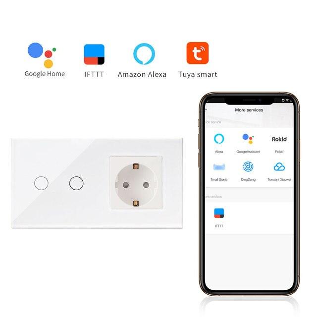 Bingoelec hogar inteligente de la automatización de la pared interruptor de la UE estándar 2 1 manera Wifi Panel táctil de cristal interruptor inalámbrico Control tuya APP