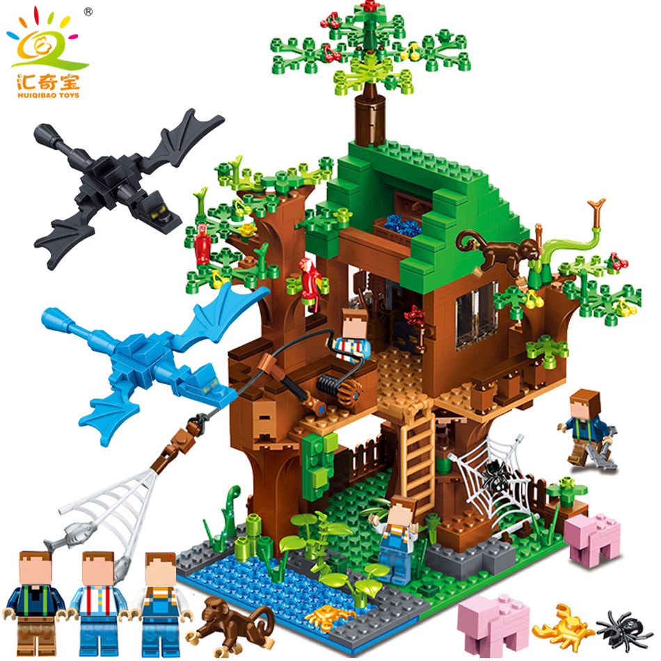 Minecrafted Classic Tree House My world Compatible Legoed City Figures Building Blocks Bricks Toys For Children Christmas 523pcs 4 in 1 minecrafted classic tree house my world model figures building blocks bricks legoings toys for children gifts set