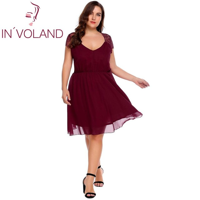 fee4e135b9189 US $17.88 45% OFF|IN'VOLAND Plus Size Women Chiffon Dress L 4XL Lace Cap  Sleeve Solid A Line Large Party Dresses Feminino Vestidos Robe Big Size-in  ...