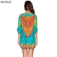 MCCKLE women summer dress 2017 vintage Boho print chiffon beach dresses Sexy V neck Half sleeve casual slim bohemian dress