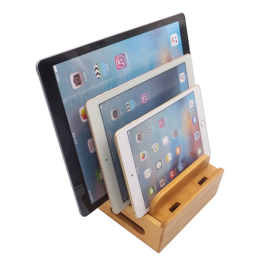 Image 5 - Bamboo Multi device Cords Charging Station Docks Holder Stand for iPhone 8 X 7 and Tablets for iphone for Samsung Galaxy Dock-in Phone Holders & Stands from Cellphones & Telecommunications
