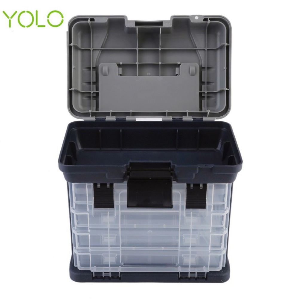 Yolo 27*18*27CM Outdoor Big Fishing Box Sea Boat Fishing Lure Accessory Case Water Resistant Fishing Tackle Box with Handle