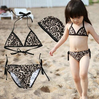 USEEMALL Children Bikini Swimwear Cute Bikini Set Baby Girl Swimsuit With Leopard Print Baby Swimming Clothes