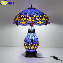 FUMAT Stained Glass Shade Table Lamp for the bedroom Tiffany Bedside Lamps Dragonfly LED E27 home Art deco luminaria Desk Lamp fumat stained glass pendant lamps european style baroque lights for living room bedroom creative art shade led pendant lamp
