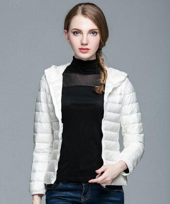 Складываемая женская зимняя куртка с длинным рукавом, однотонное женское теплое пуховое пальто, Новое Женское зимнее пальто с капюшоном Casaco Feminino - Цвет: Beige