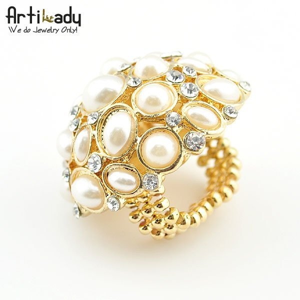 Artilady CR111114010  gold simulated pearl ring engagement  ring  valentine's gift  brithday gift new