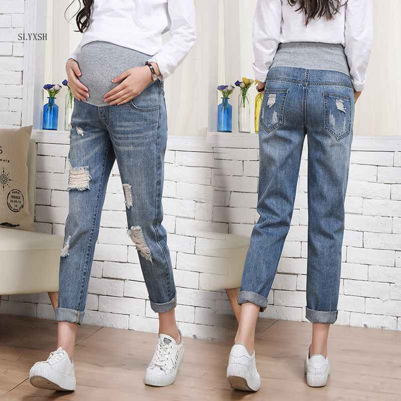 Pregnancy Jeans Maternity Pants Holes Loose Outer Wear Women Clothes Trousers Nursing Prop Belly Pregnancy Clothing Overalls
