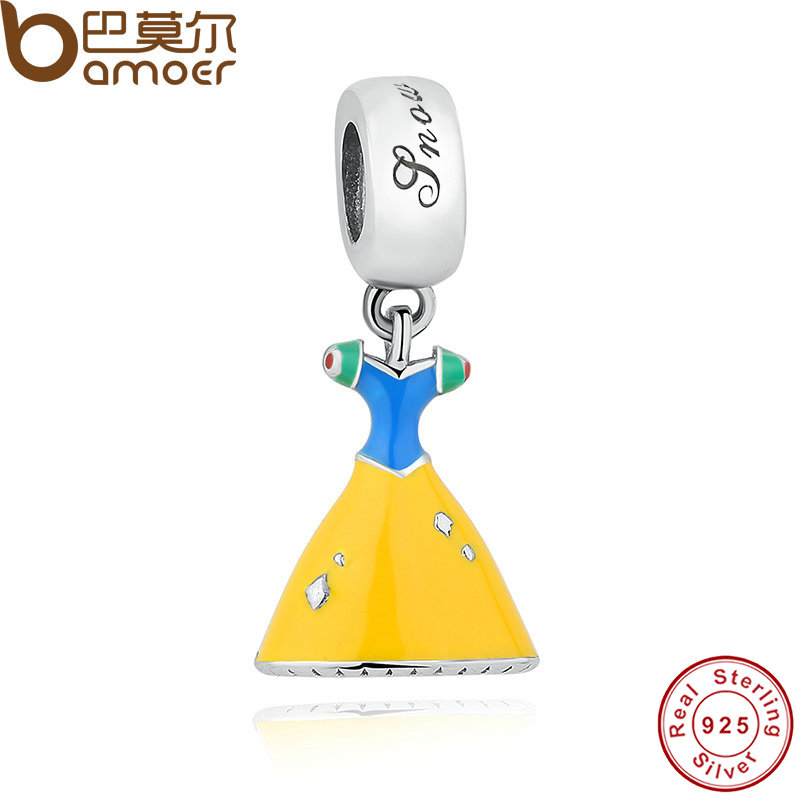 925 Sterling Silver Snow White's Dress DANGLE Pendant Fit Bracelet Necklace Blue Bodice Yellow Skirt Jewelry Making PAS159