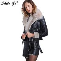 SHILO GO кожаная женская зимняя модная куртка из натуральной овечьей кожи с воротником из натурального Лисьего меха, мотоциклетная куртка с дл