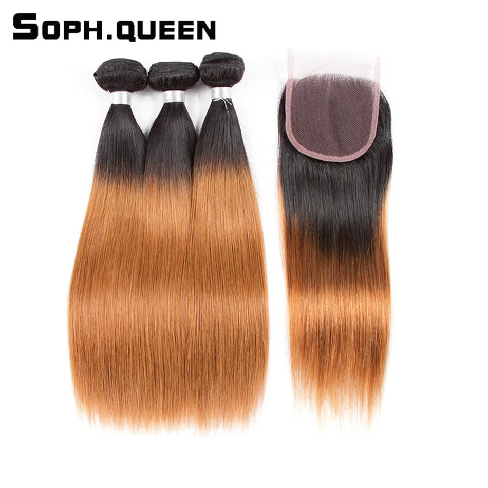 Soph drottninghår brasilianska Straight Blonde Bundles Med Closure - Mänskligt hår (svart)