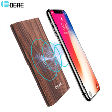 DCAE 10000mAh QI Wireless Charger Wood Texture Portable Power Bank for iPhone X 8 Samsung S8  Mobile Powerbank External Battery