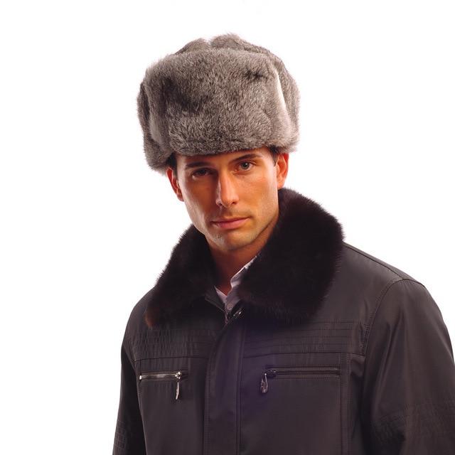 Genuine Cappelli di Pelliccia Degli Uomini Reale della Pelliccia del  coniglio Cappelli invernali e con pelliccia per il Russo ispessimento ... 96878f30a23b