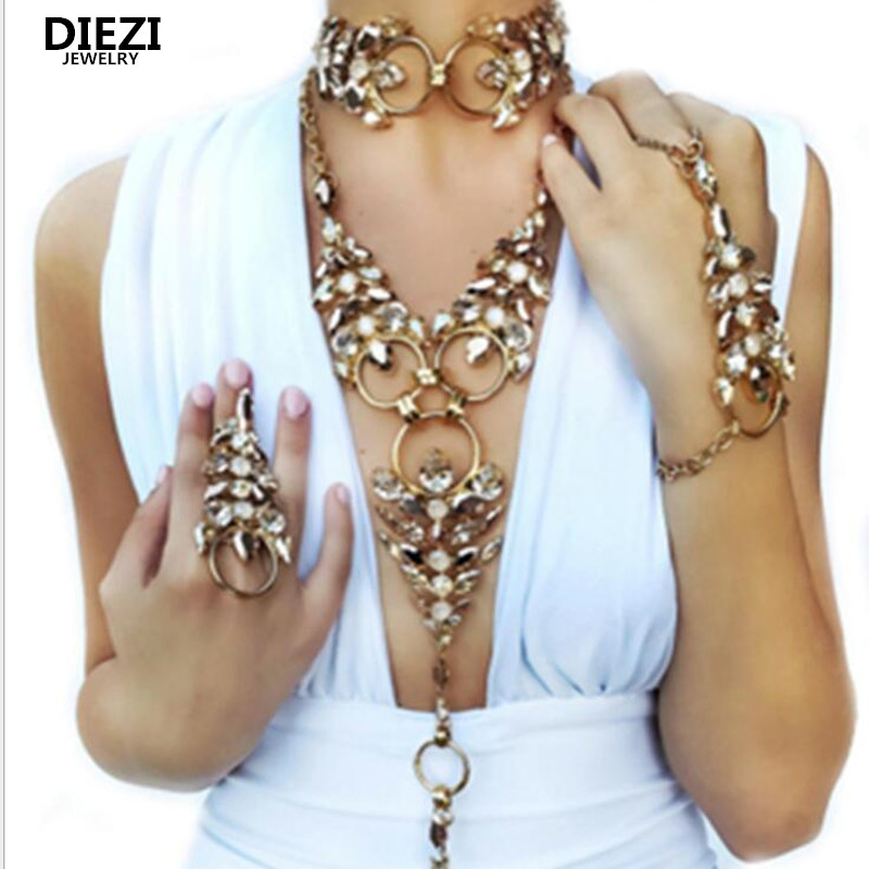 DIEZI Vintage Boho Beach Silver Multilayer Long Metal