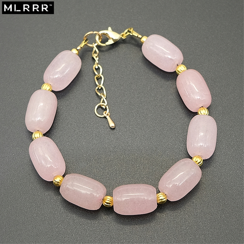 Vintage Classic Natural Stone Jewelry Simple Romantic Fashion 10*15mm Cylindrical Pink Rose Quartzs Beaded Strand Bracelets