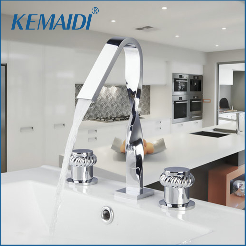 KEMAIDI Bathtub Shower  Mixer Basin Tap 3PCS Set Faucet Construction & Real Estate Deck Mounted Chrome Distortion Design Spout real estate broker 500g